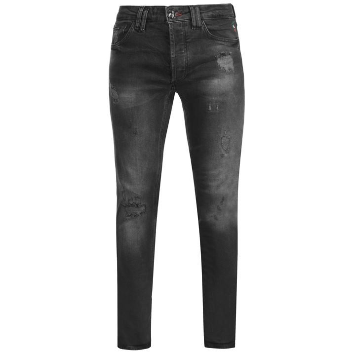 Distressed Super Straight Jeans