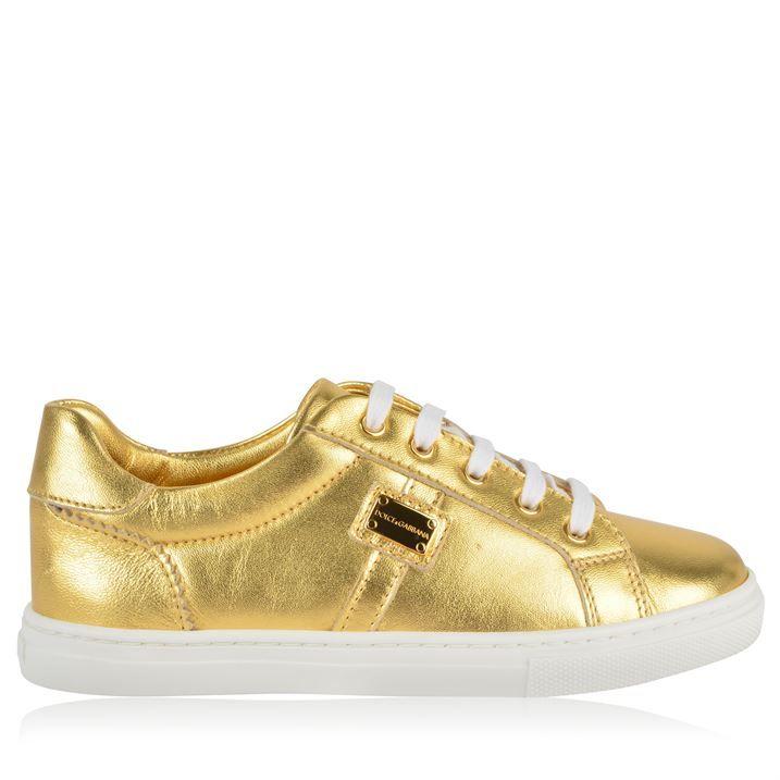 Children Girls Gold Plate Trainers