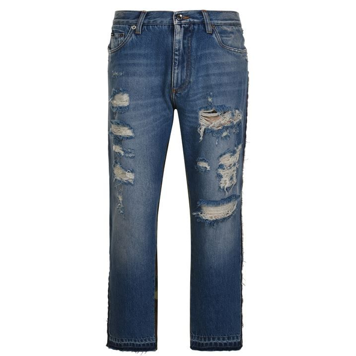 Distressed Camouflage Slim Jeans