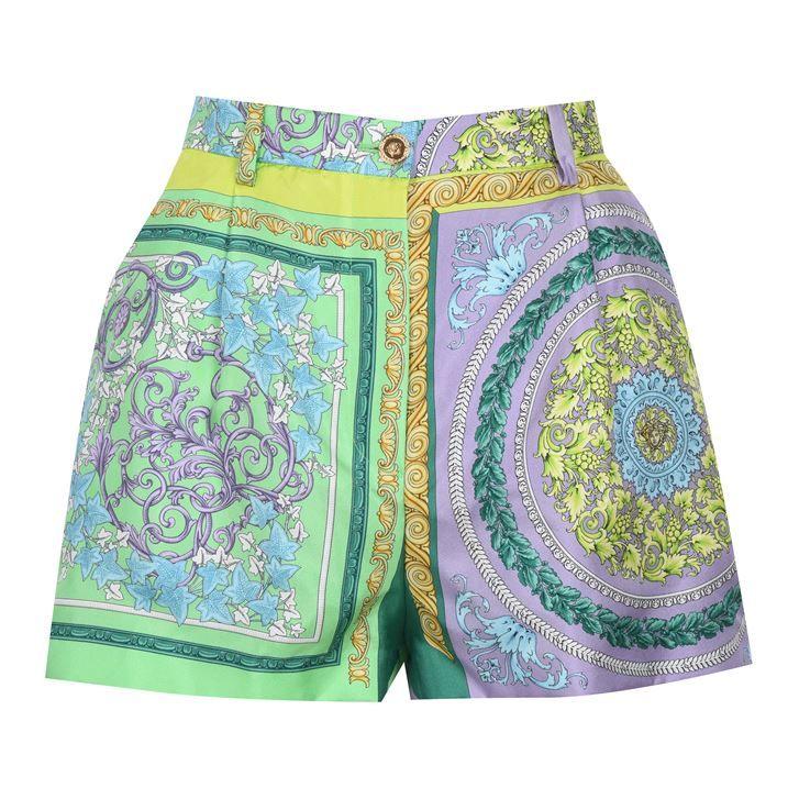 Barocco Mosaic Print Silk Shorts