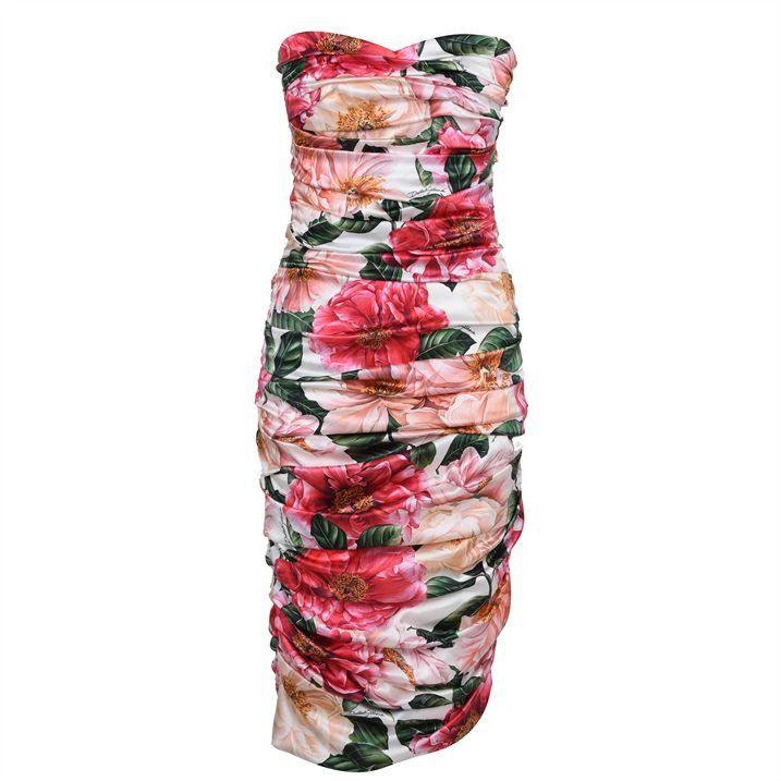 Strapless Satin Midi Dress