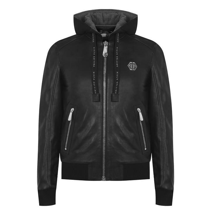 Leather Hooded Bomber Jacket