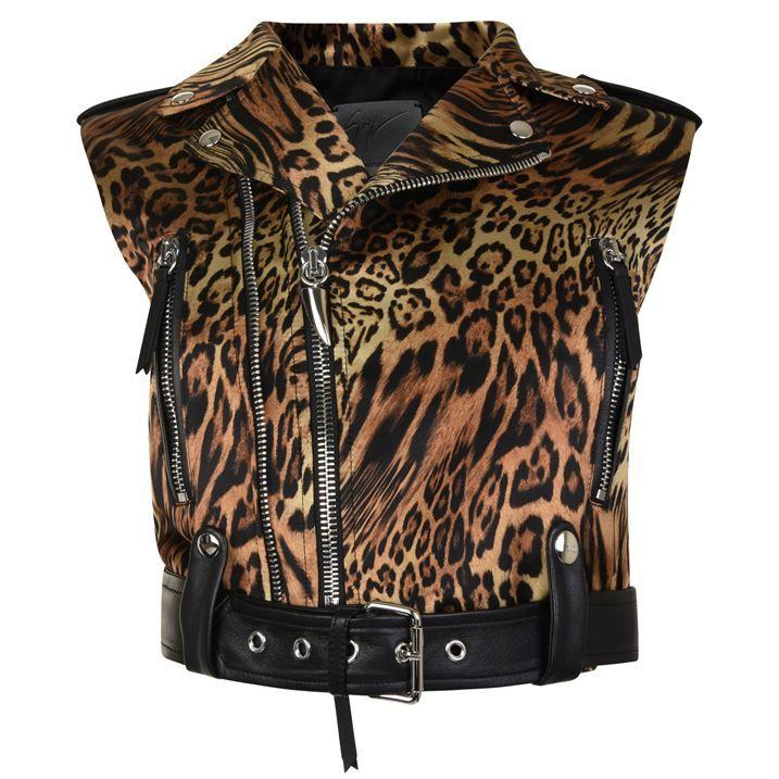 Leopard Print Sleeveless Biker Jacket