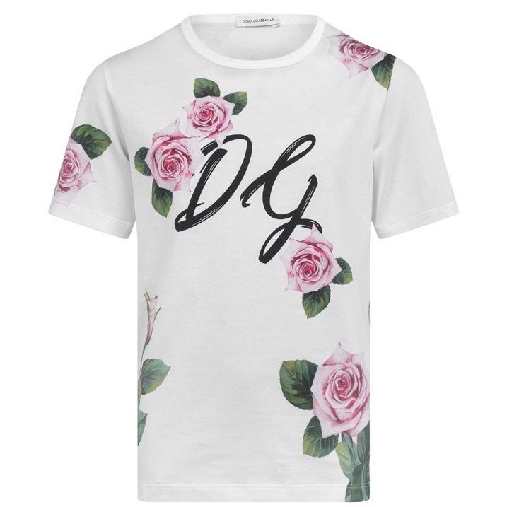 Junior Girls All Over Print Rose T Shirt