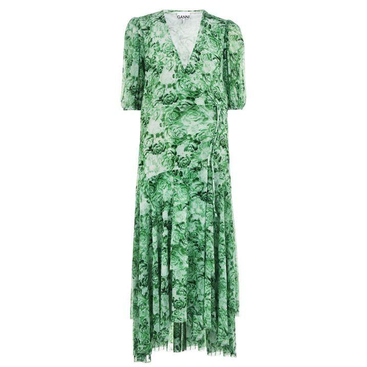 Mesh Wrap Maxi Dress