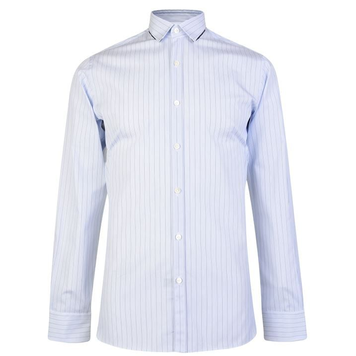 Ribbon Collar Stripe Shirt