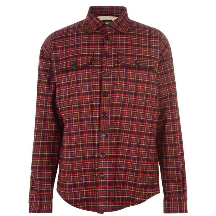 Checked Fur Long Sleeved Casual Shirt