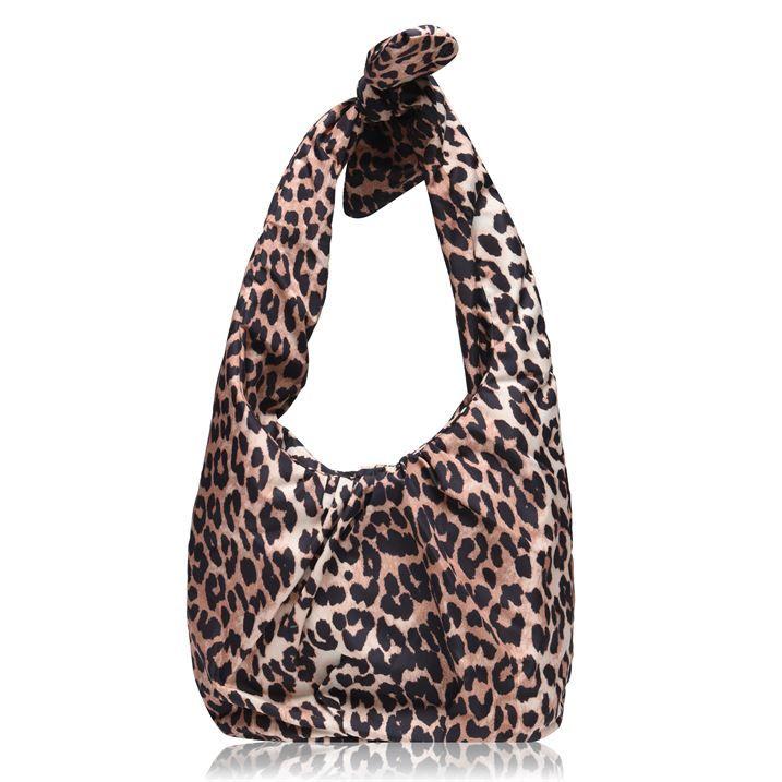 Padded Tie Leopard Handbag