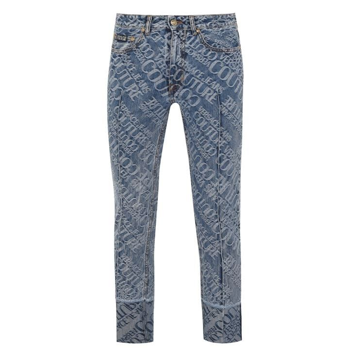 All Over Print Logo Jeans