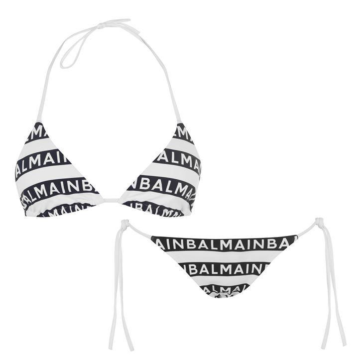 Logo Striped String Bikini Set
