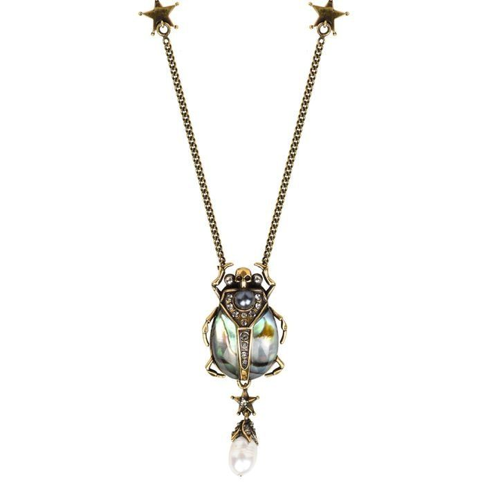 Pearl Skull Chain Necklace
