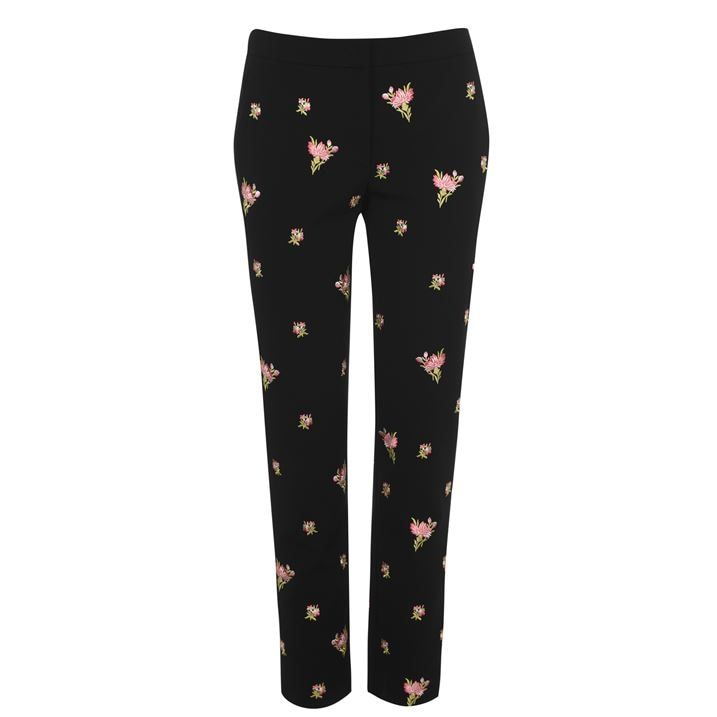 Flowers Embroidery Crepe Trousers