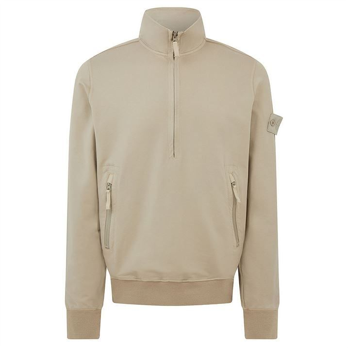 Cotton Stretch Fleece Ghost Piece Half Zip Sweatshirt