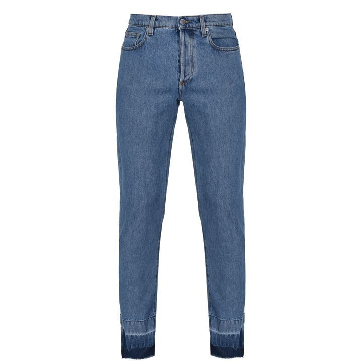 Raw Hem Slim Jeans