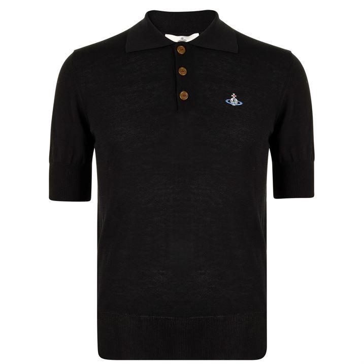 Short Sleeved Knit Polo Shirt