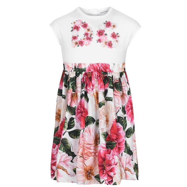 Junior Girls Floral Logo Dress