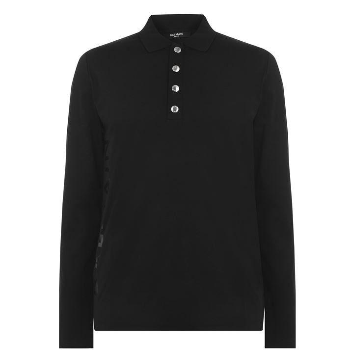 Balmain Foil Long Sleeve Polo Shirt
