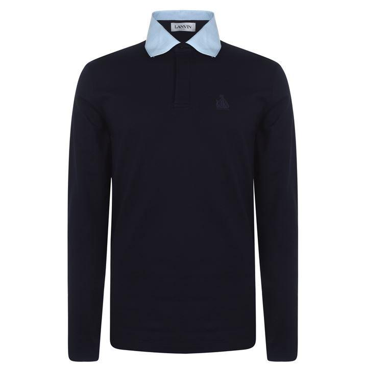Grosgrain Long Sleeve Polo Shirt