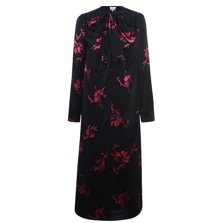 Floral Satin Maxi Dress