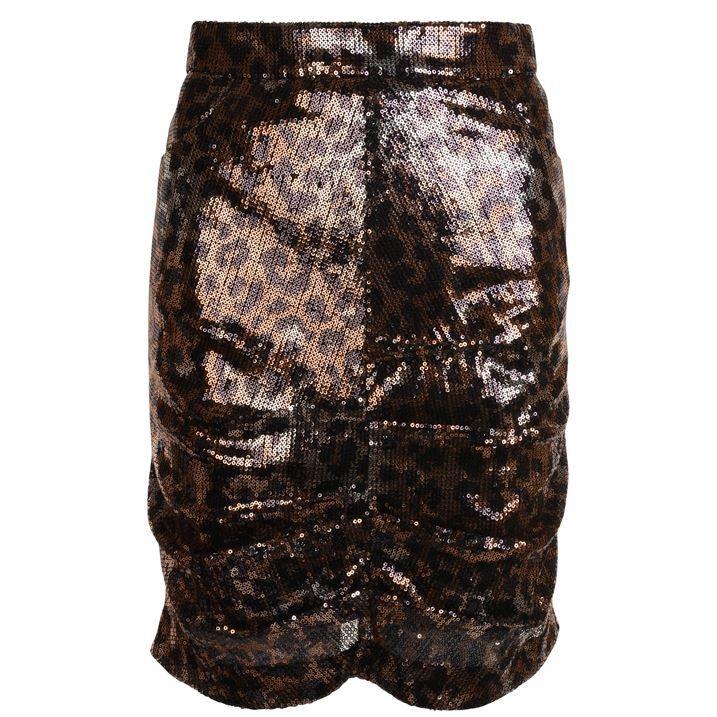 Leopard Print Sequin Skirt