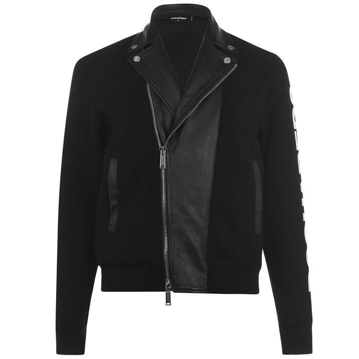 Logo Sleeve Leather Jacket