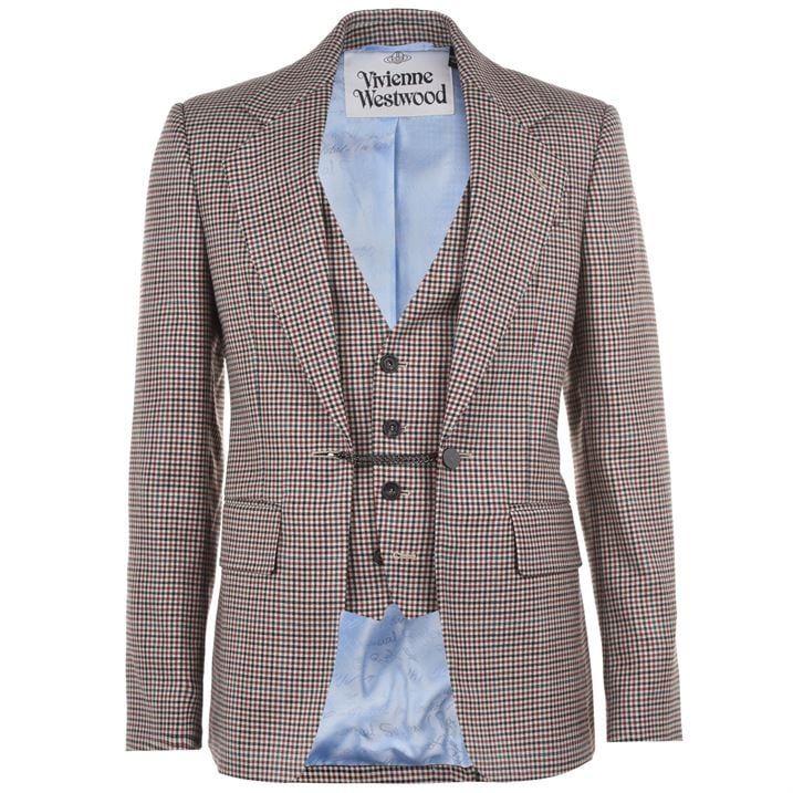 Wool Checked Waistcoat Jacket