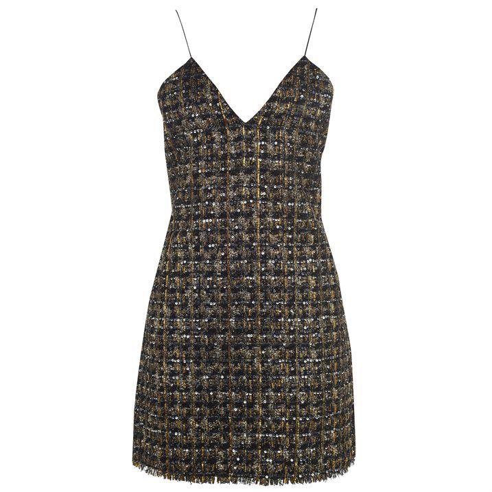 Short Sequined Tweed Dress