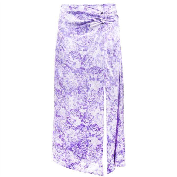 Satin Floral Midi Skirt