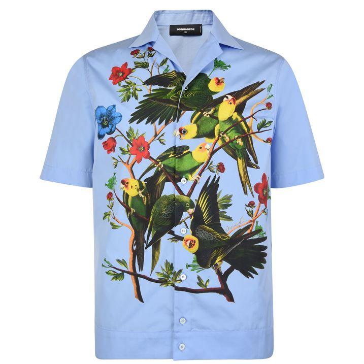 Parrot Print Short Sleeve Shirt