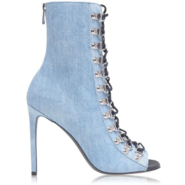 Denim Lace Up Ankle Boots