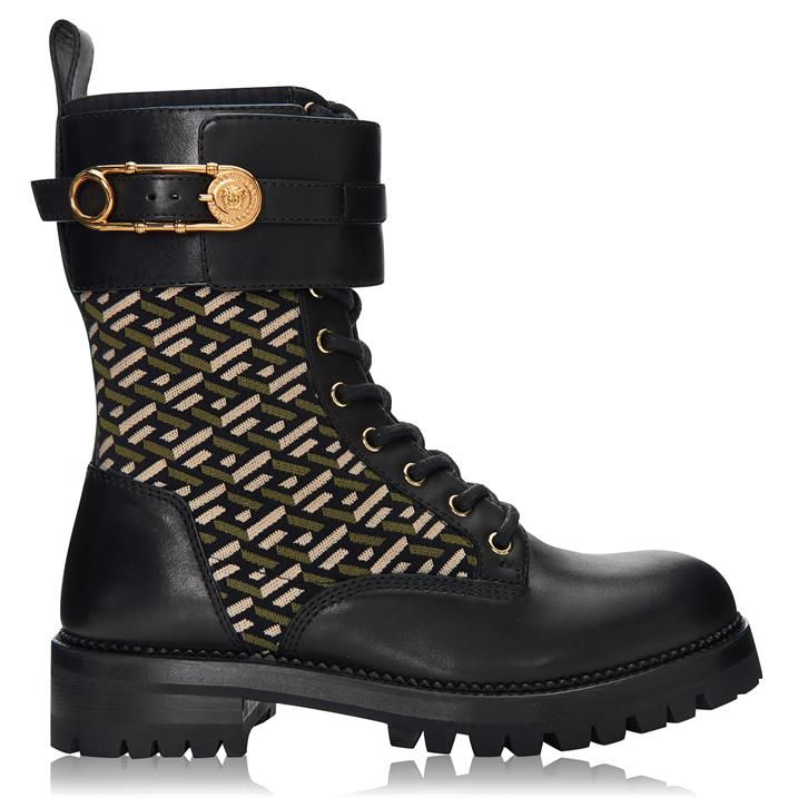 Safety Pin Leather Combat Boots