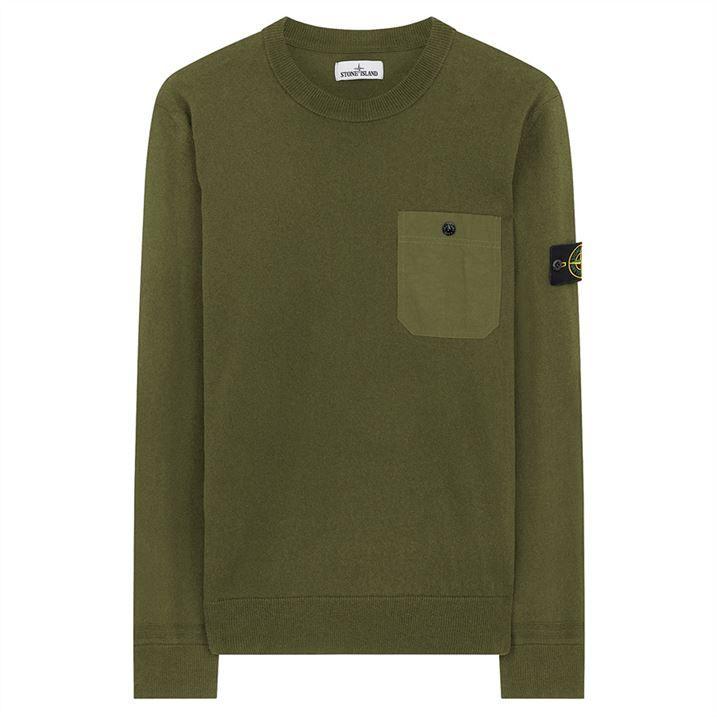Light Raw Cotton Utility Knit Crew Neck Sweatshirt