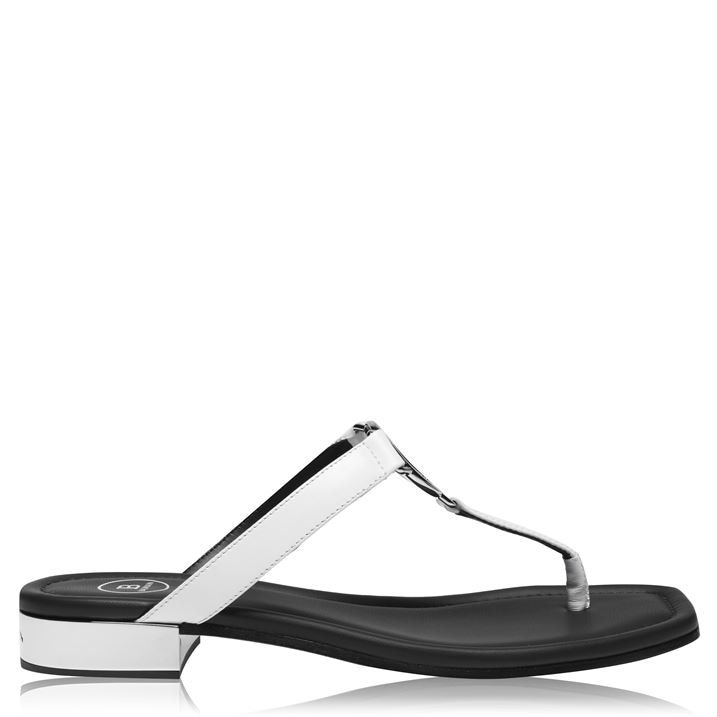 B Logo Silver Leather Palmyre Sandals