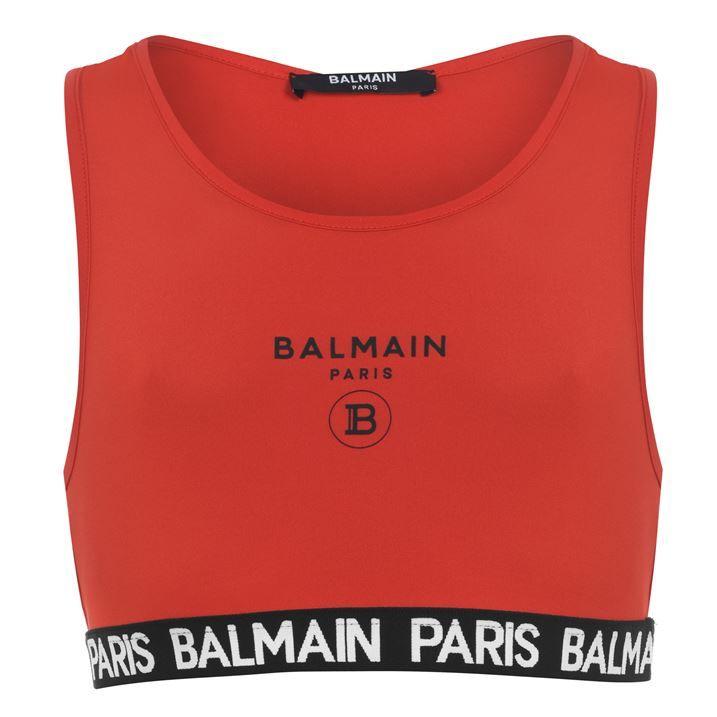 Balmain Logo Crop Top